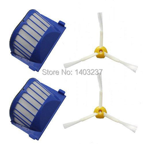 2 pcs Aero Vac Filter 2* Side Brush 3-Armed for iRobot Roomba 500 600 Series 536 550 551 552 564 620 630 650 660 Vacuum Cleaner aero vac filter bristle brush flexible beater brush 3 armed side brush tool for irobot roomba 600 series 620 630 650 660