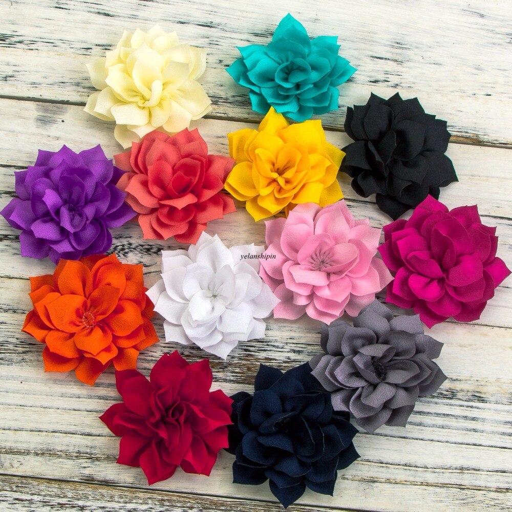 Двухслойные заколки для волос, 3,6 дюймов, 13 цветов, цветы лотоса для детей, аксессуары для волос, зимние тканевые цветы для волос, повязки на г...