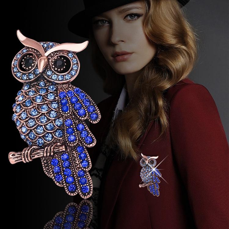 Jogos vorazes Owl տղամարդկանց բրոշի Blue Rhinestone բրոշը կանանց համար համընկնում Classic Fashion Owl Արծաթե բրոշներ Hijab Pins X0834