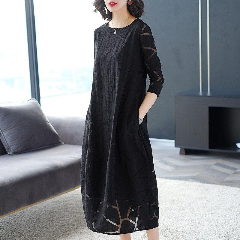 Lente en Herfst 2019 nieuwe slanke Jurk temperament mode Zomer vrouwen Grote Omvang losse Jurk zwart X495 - 3