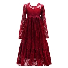 2019 Spring Flower Lace Girls Dress Long Sleeves Pleated Solid Long Dress Children Girls Birthday Party Wedding Kids Girls Dress