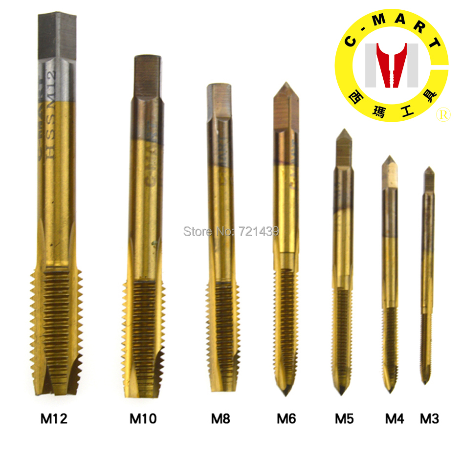 10pc HSS Titanium Machine Hand Tap Tapping Screw Thread Metric Plug Taps 3 4 5 6 8 10 12mm M3 M12 set Hand Grinding Carving Tool