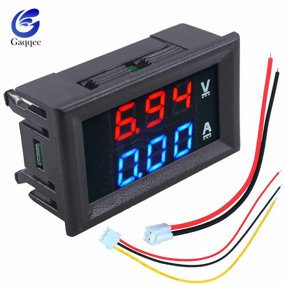"DC 100V 10A Mini Digital Voltmeter Ammeter Panel Amp Volt Voltage Current Meter Tester 0.56"" Blue Red Dual LED Display W/ Cable"