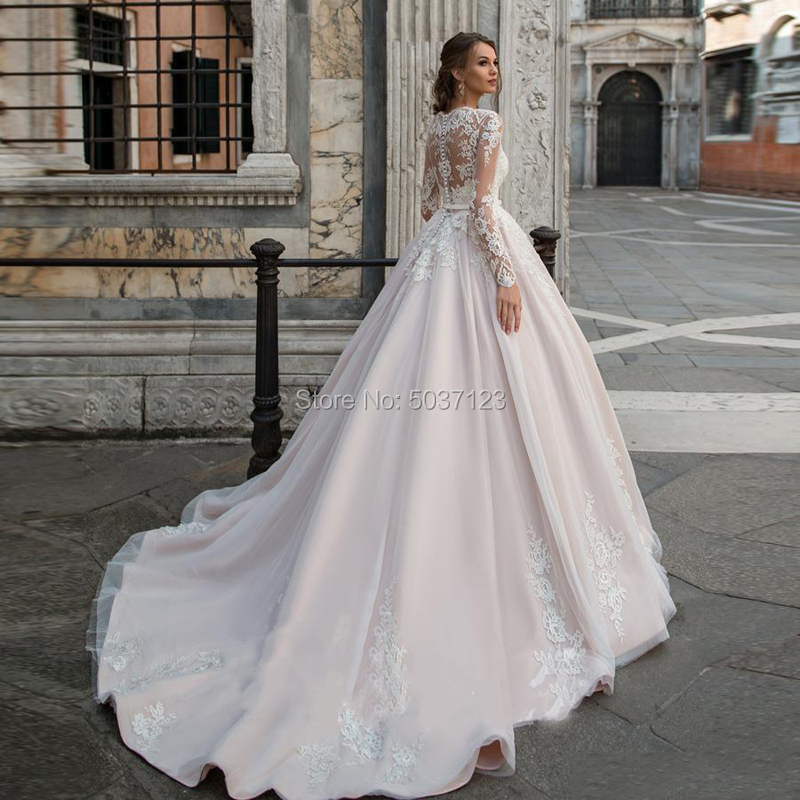 Image 2 - Pink Ball Gown Wedding Dresses Lace Appliques Vestidos De Noiva Long Sleeves Scoop Illusion Bridal Gown Robe De Mariee-in Wedding Dresses from Weddings & Events