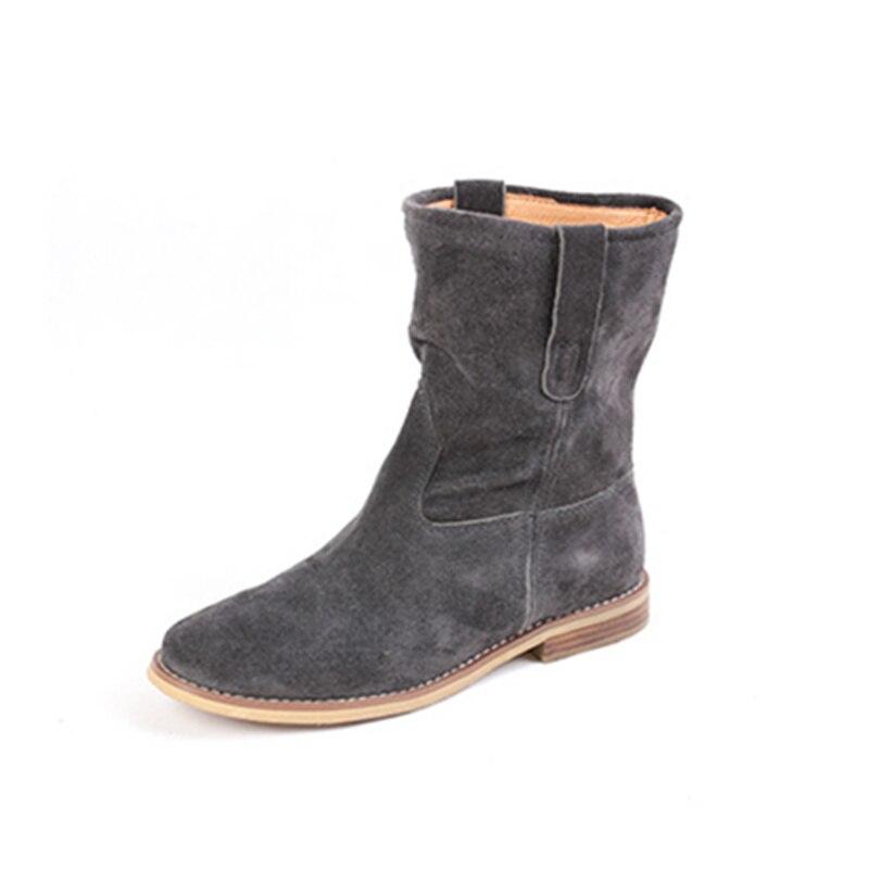 PRICHICELLA 2018 di vendita caldo della ragazza camoscio nero appartamenti a metà polpaccio stivali donne del cuoio genuino stivaletti invernali - 6