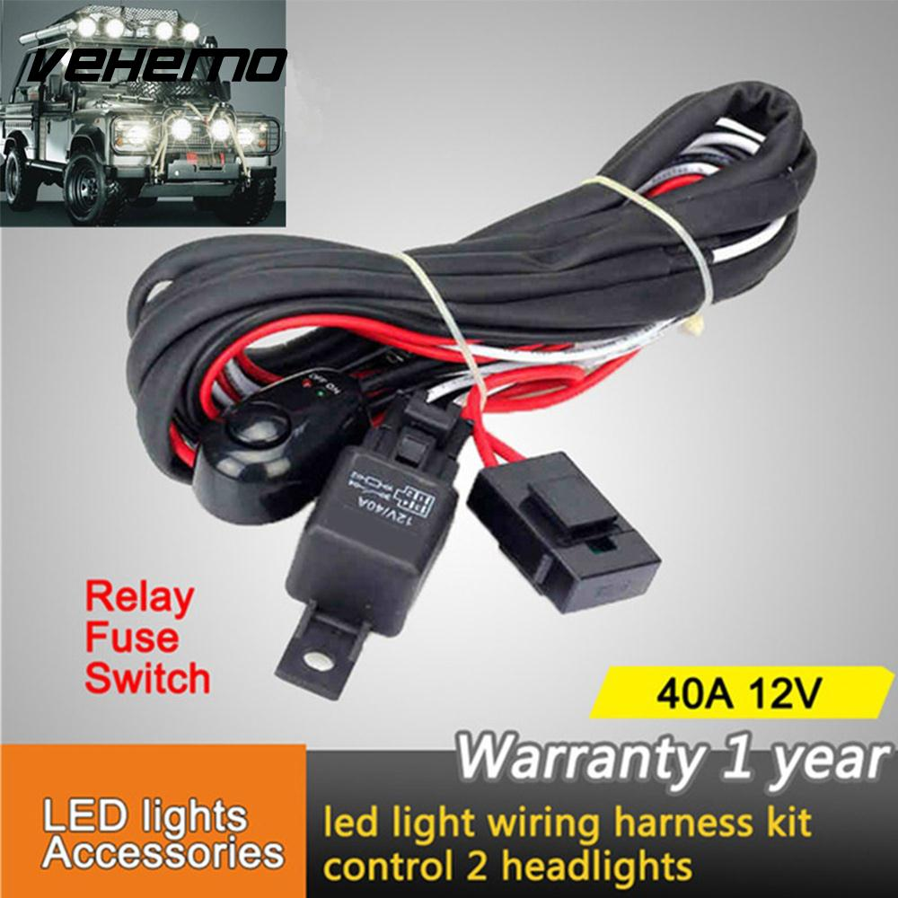 Vehemo Connecting 2 LED 12V 40A Wiring Harness Kit Line Set Fog Light Headlight Wiring Fuse Relay LED Work Driving Light ...