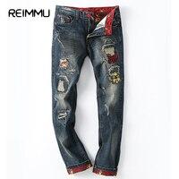 2017 Nueva Moda de Otoño e Invierno Jeans Hombres Famosa Marca agujero Pantalones flacos para los hombres Más El Tamaño Recto Jeans impresos venta caliente