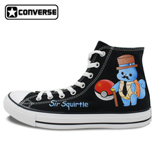 Sir Squirtle Pokemon Go Converse Chuck Taylor Black Sneakers Design Hand Painted Shoes High Top Skateboarding Shoes Women Men