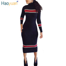 HAOYUAN Women Autumn Winter Dress Turtleneck Long Sleeve Striped Knitted Dresses 2017 Vestidos Casual Bodycon Wrap Sweater Dress