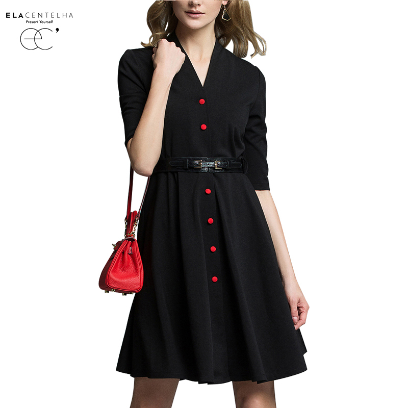 Buy Cheap ElaCentelha Women Summer Autumn Dress 2016 Posed Studs In The Pure Color Long Sleeve V-neck Dress Of Cultivate One's Morality