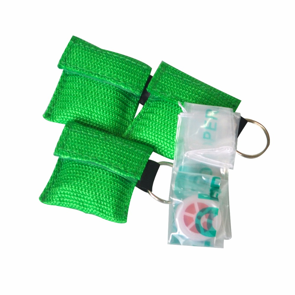 Pack of 100Pcs CPR Resuscitator Mask Keychain Ring With One-way Valve Breathing Barrier For First Aid Or AED Training Green BagPack of 100Pcs CPR Resuscitator Mask Keychain Ring With One-way Valve Breathing Barrier For First Aid Or AED Training Green Bag
