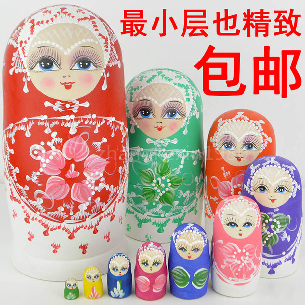 10PCS 22cm Wooden Russian Nesting Dolls Colorful Girl Russia Traditional Matryoshka Dolls Juguetes Bonecas