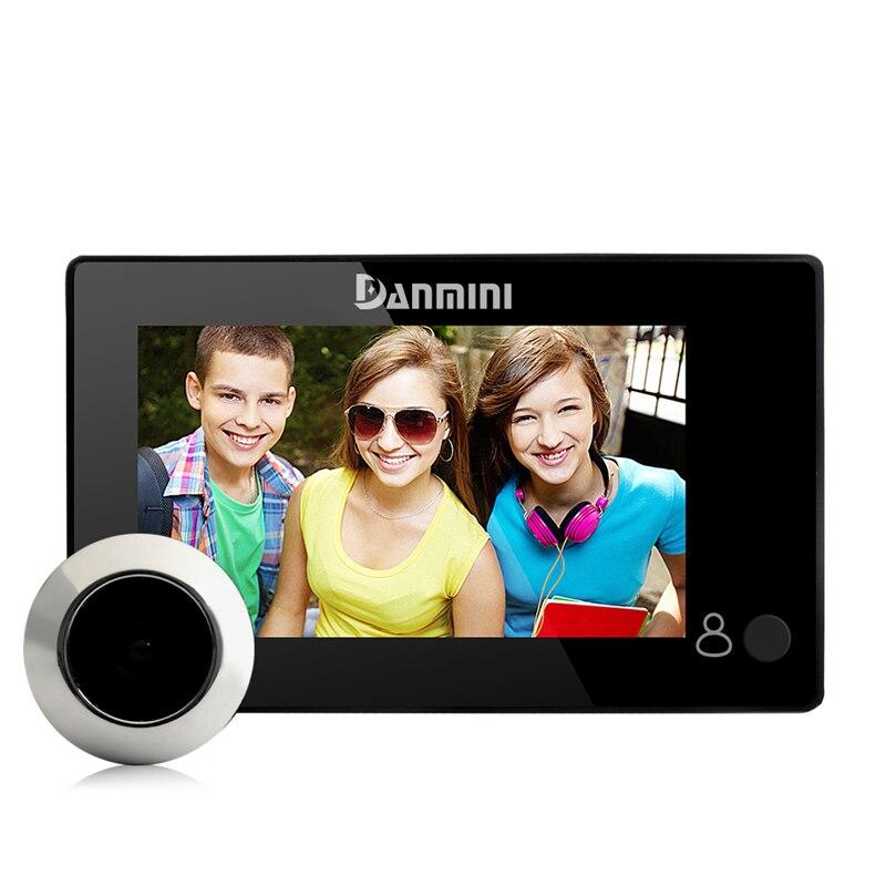 DANMINI 4.3 polegada Digital Peephole Da Porta Eye Campainha Campainha Sem Fio Em Casa Câmera de Segurança De 145 Graus Para O Privado