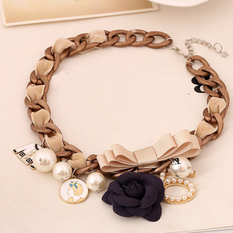 Rose Nummer 5 Bogen Statement Halskette Charms Fashion Choker - Modeschmuck - Foto 5