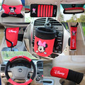10 pçs/set cobertura do travão de mão tampa do cinto de segurança suprimentos automotivos interior decoração mickey mouse acessórios do carro