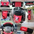 10 pçs/set mickey mouse acessórios suprimentos automotivos interior decoração do travão de mão do carro tampa tampa do cinto de segurança