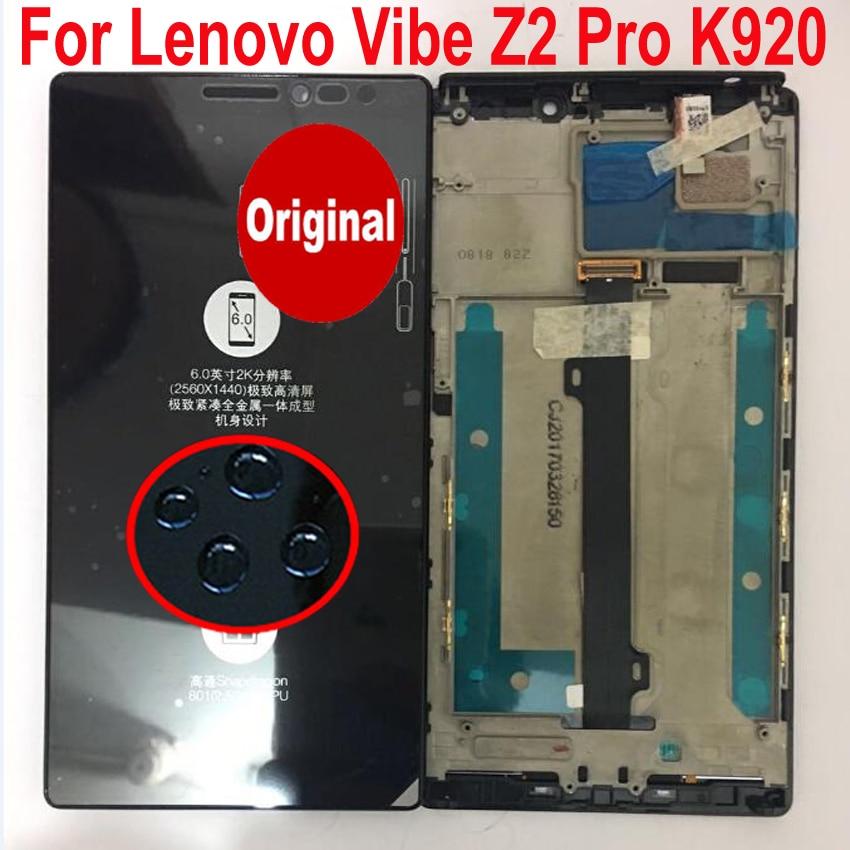 100% оригинал Для Lenovo Vibe Z2 Pro K920 6,0 ЖК дисплей кодирующий преобразователь сенсорного экрана в сборе с рамкой для замены мобильного телефона