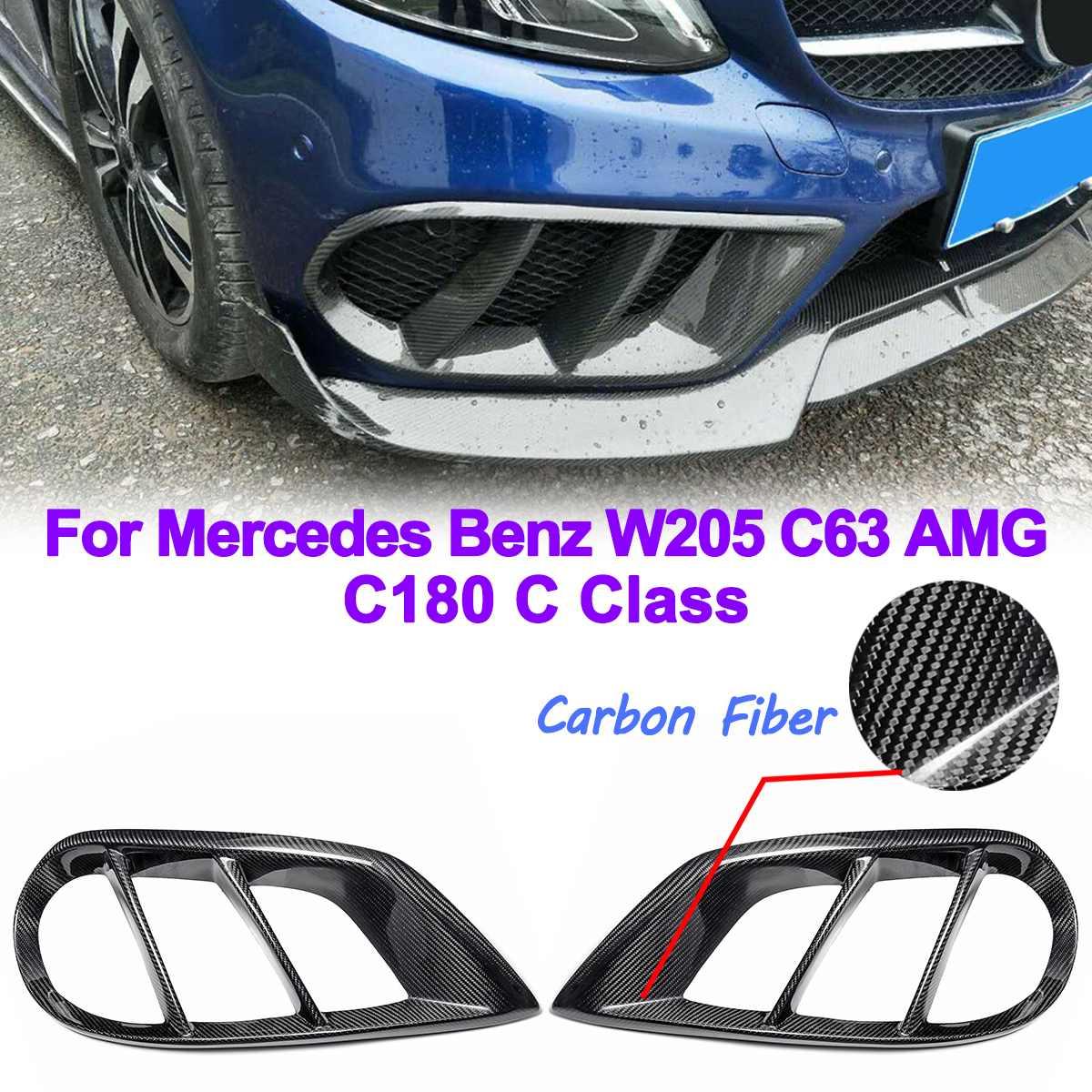 Front Bumper Air Vent Grill Fog Light Cover Carbon Fiber Trim for Mercedes for Benz W205 C43 for AMG 2015-2018 Exterior PartsFront Bumper Air Vent Grill Fog Light Cover Carbon Fiber Trim for Mercedes for Benz W205 C43 for AMG 2015-2018 Exterior Parts