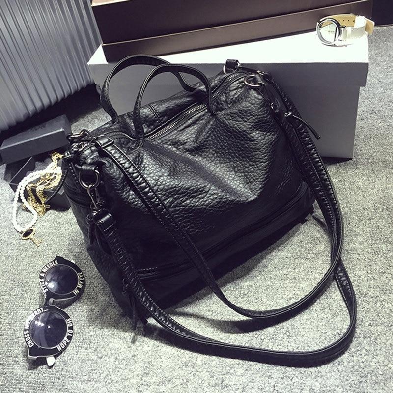 Bolish Fashion Waterproof Pu Leather Crossbody Bag Vintage Women Messenger Bag Motorcycle Shoulder Bag Large Women Handbag