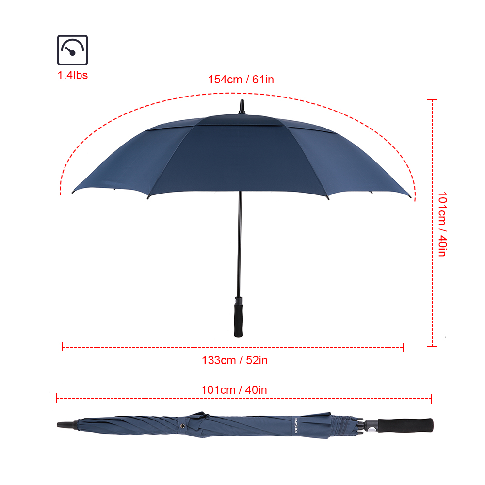 9688b1bbbec8 US $18.59 20% OFF|TOMSHOO 61 Inch Oversized Automatic Auto Open Golf  Umbrella Outdoor Extra Large Double Canopy Ventilated Stick Umbrella-in  Golf ...