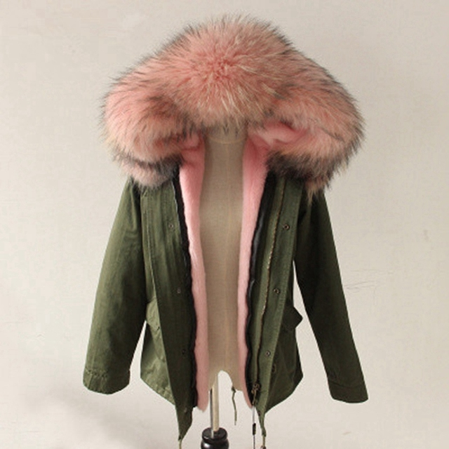 Cheap Real Raccoon Fur Collar Hooded Parkas For Women Long Sleeve Army Green Ladies Jacket Parka With Faux Fur Inner Winter Thick Coat