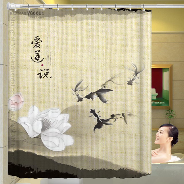 Traditional Chinese Style Ink Lotus Shower Curtain Flowers Curtian Unique For Bathroom