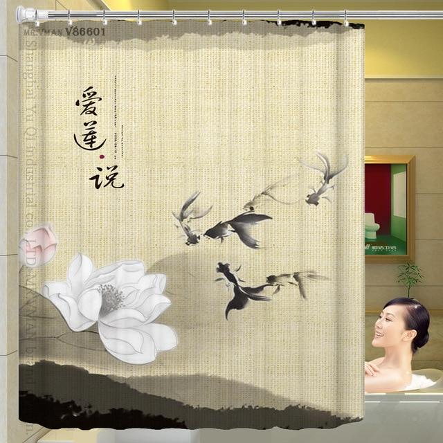 Traditionellen Chinesischen Stil Tinte Lotus Duschvorhang blumen ...