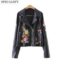 Ethinc Style Black Leather Jacket Women Basic Coats Floral Embroidery Vintage Short Bomber Jackets Street Punk Cool Sliver Coat