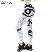 8c66a869e0c4e Zohra белая линия Face Me Up печати модные женские туфли Леггинсы для  женщин сексуальная тренировки фитнес стрейч низ Эластичнос..