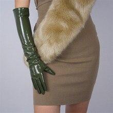 Patent Leather Long Gloves 50cm Style Emulation PU Bright Dark Green Army Female WPU64