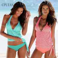 CPUTAN 2019 Tankini Swimsuit Plus Size Women Vintage Large Swimwear Beachwear Print Bathing Suit High Waist Female swimming suit