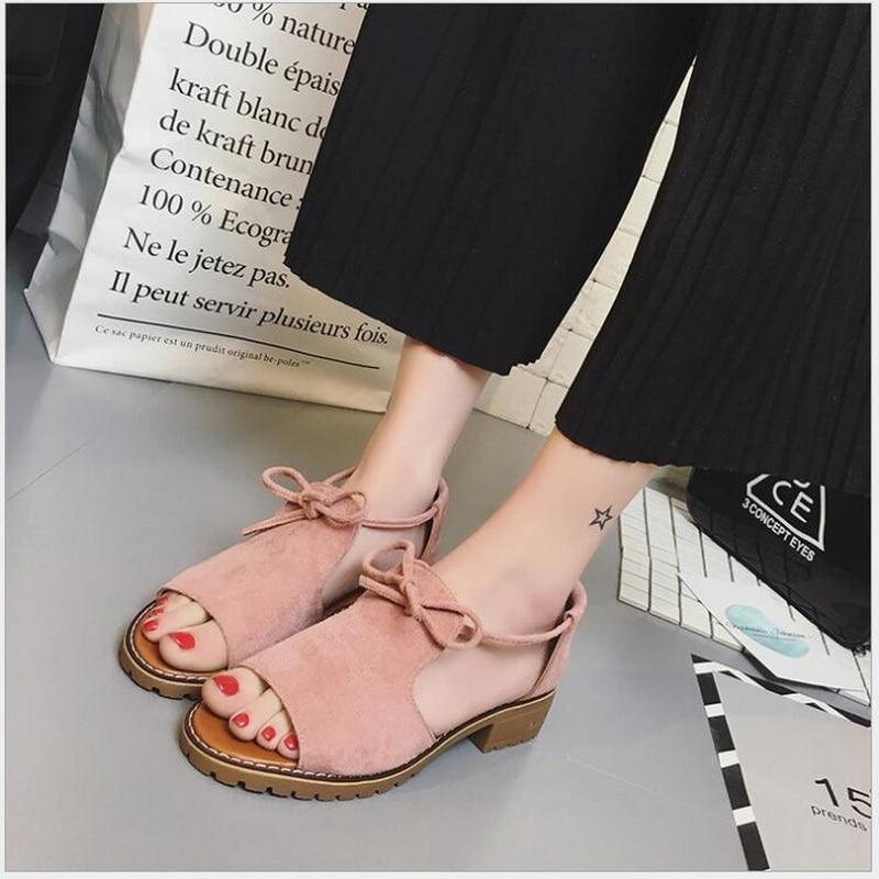Summer flat Sandals Fish Mouth Women Sandals Flock Retro Low Heels Square Heel Woman Lace Up Shoe size 35-40 2