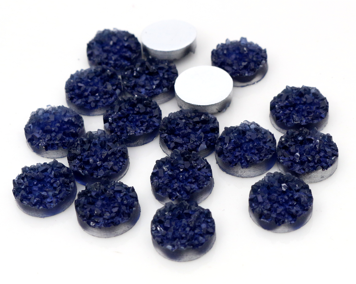 New Fashion 40pcs 12mm Blue Ink Colors Druzy Natural Ore Style Flat Back Resin Cabochons For Bracelet Earrings Accessories-V4-28