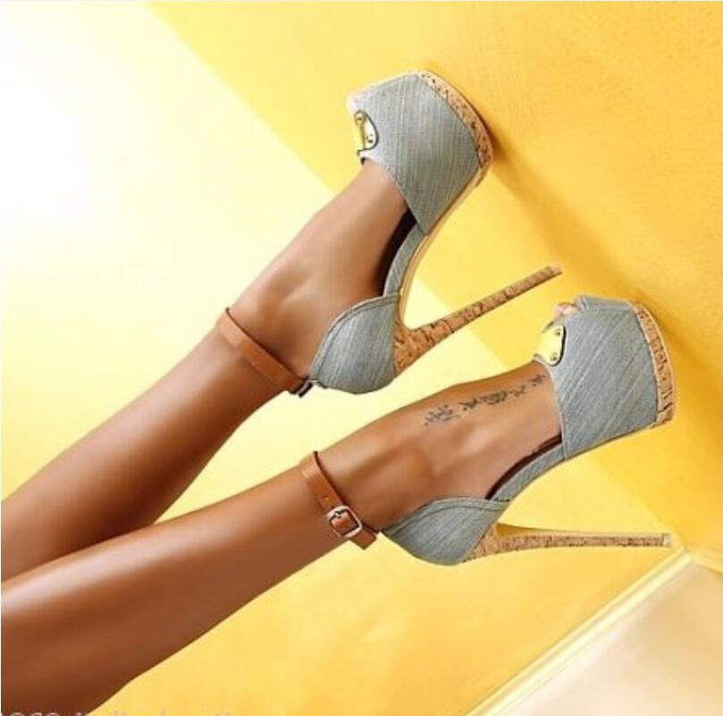New  Top Popular Denim Women Pumps Fashion Ladies Platforms High Heels Pumps Peep Toe Party shoes woman Women plus size 42 new 2017 spring summer women shoes pointed toe high quality brand fashion womens flats ladies plus size 41 sweet flock t179