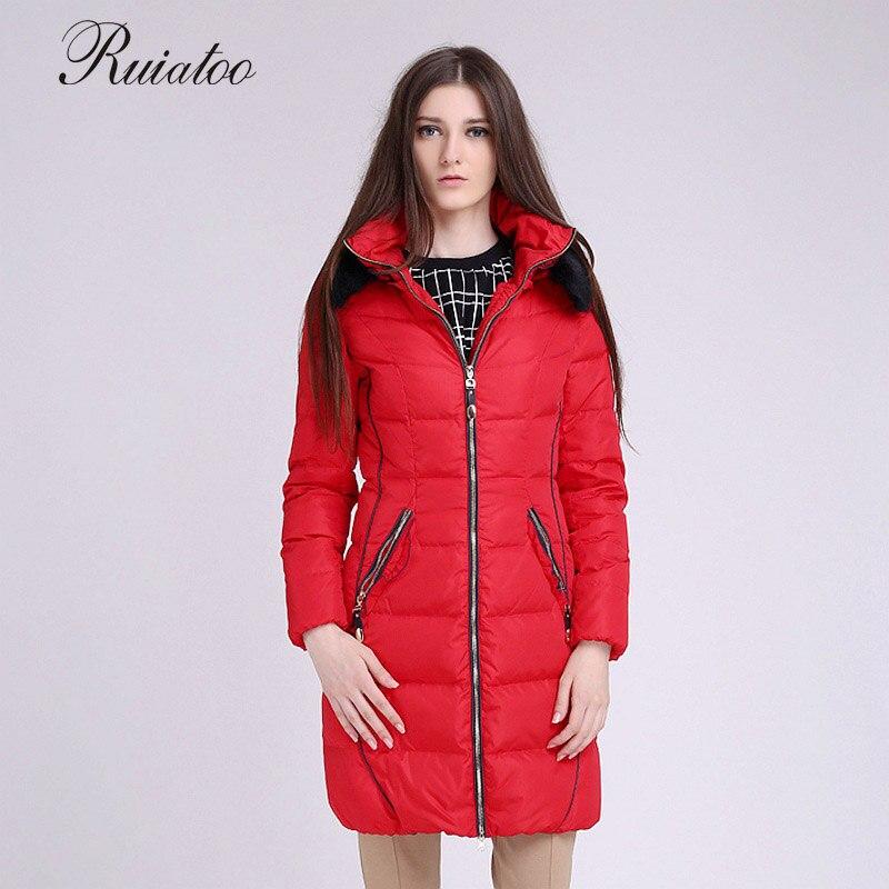 Woman wearing winter long cotton jacket with large down slim woman jacket  gift manteau femme parka hiver avec capuche miegofce