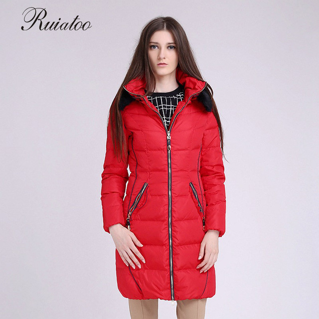 be823d0fefe9e Woman wearing winter long cotton jacket with large down slim woman jacket  gift manteau femme parka hiver avec capuche miegofce