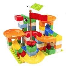 цены на 74pcs Marble Race Run Maze Ball Track Building Blocks Plastic Funnel Slide Big Size Bricks Compatible Legoingly Duplo Block  в интернет-магазинах