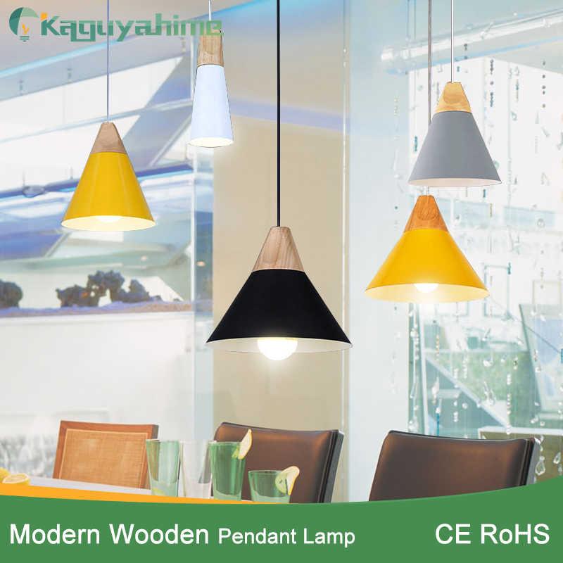 Kaguyahime nowoczesne lampy wiszące Lamparas lampa led kolorowe lampa aluminiowa odcień drewna lampa wisząca dowolne oświetlenie do pokoju dla domu