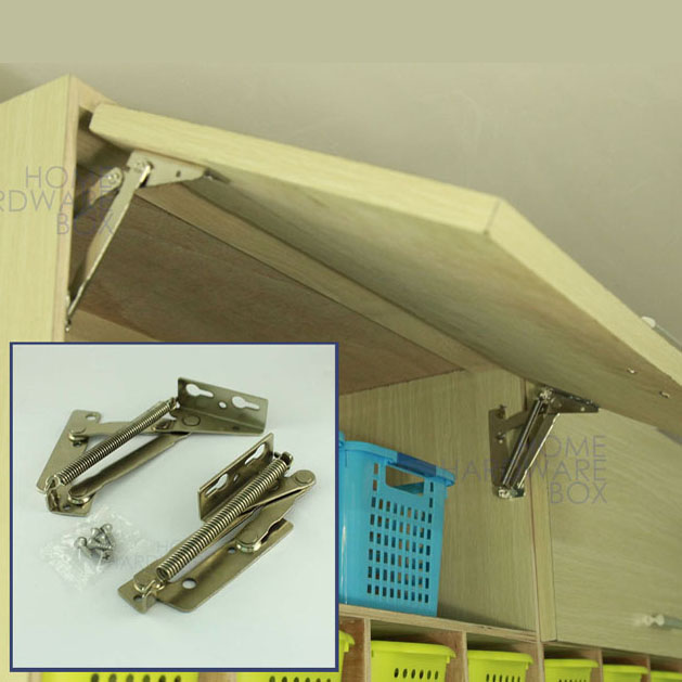 Lift Up Kitchen Cabinet Hinges: Pair Of Cabinet Door Lift Up Flap Top Support Spring