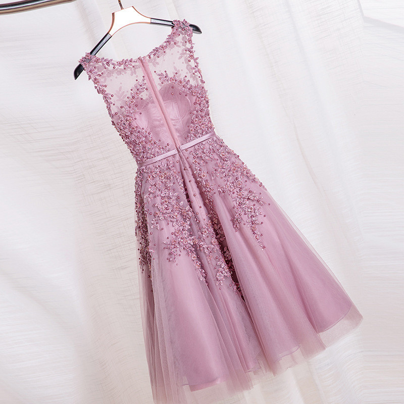Image 2 - In stock fast ship Short beaded Cocktail Dresses Dusty pink Lace Cheap A line Tulle Sleeveless Cocktail Party Prom Dress 2019-in Cocktail Dresses from Weddings & Events