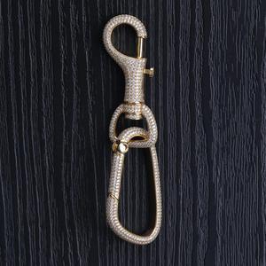 Image 4 - Neue Iced Out Karabiner Keychain Für Männer Gold Silber Farbe Hip Hop Charme Schmuck Solide Kupfer Mit AAA CZ Keychain geschenke