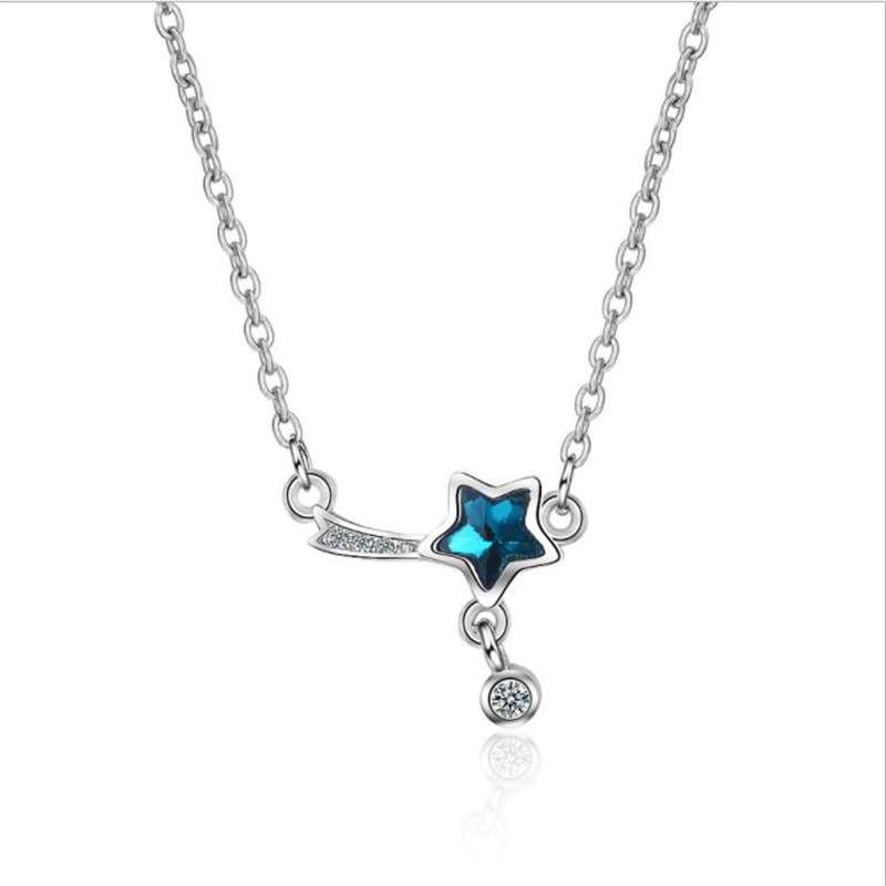 TJP Trendy Crystal Star Female Pendants Necklace Jewelry Charm Silver 925 Choker Necklace Women Christmas Birthday Accessories