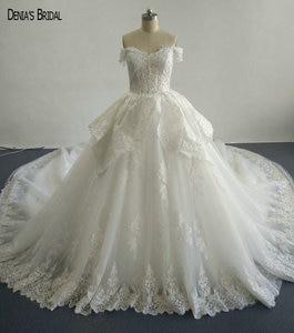 Image 1 - Бальное платье с бисером, кружевные свадебные платья с вырезом сердечком, без рукавов, длиной до пола, красочные свадебные платья 2017