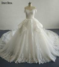 2017 vestido de baile frisado vestidos de casamento de renda com decote querida sem mangas capela trem andar comprimento vestidos de noiva coloridos