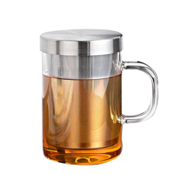 New 450ml / 15.84 fl.oz Heat resistant Handgrisp Glass Tea Cup with Stainless Steel Strainer, Lid Man Office Cup Gift