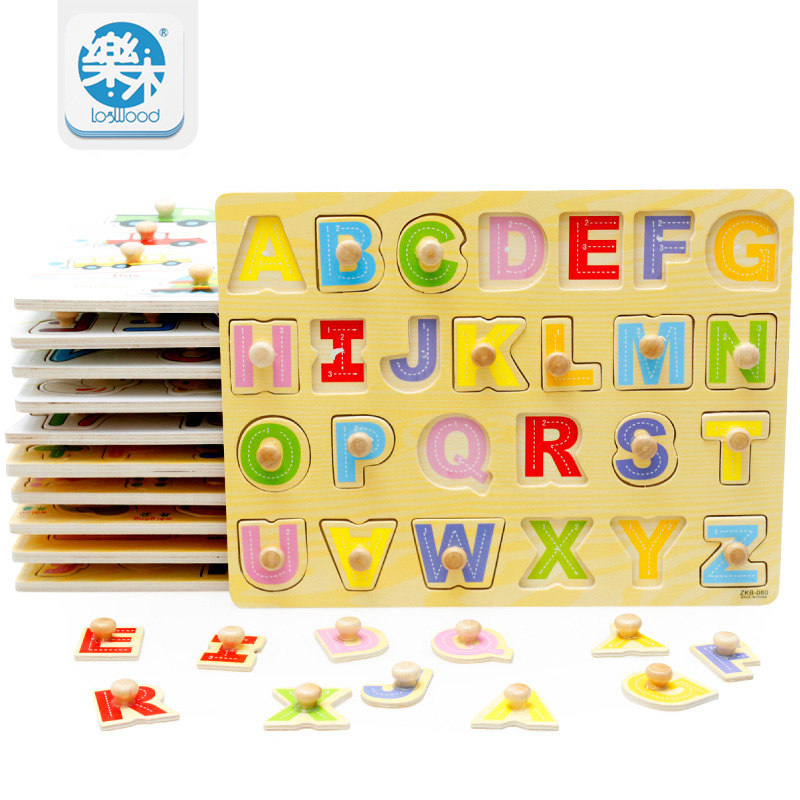 wooden number letter puzzle learn board kids toys for baby educational toys wood puzzles for children