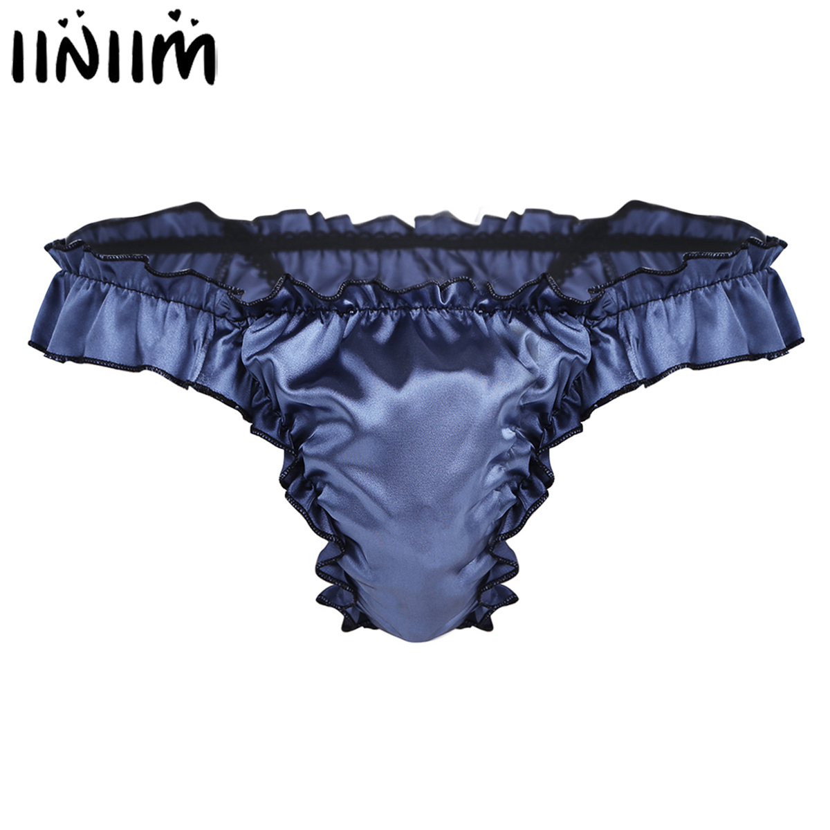 Mens Lingerie Panties Shiny Ruffled Frilly Sissy Pouch Bikini Briefs High Cut Jockstraps T-Back Gay Underwear Underpants