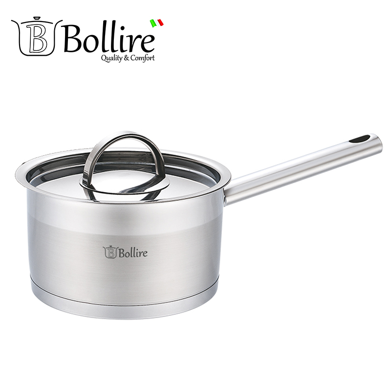 BR-2301 Ladle Bollire 1.8L 16cm Casserole stainless steel Stainless steel cover with three holes for steam outlet ss 16in 40cm solid stainless steel lazy susan turntable swivel plate kitchen furniture with upgrade anti skid soft rubber tips