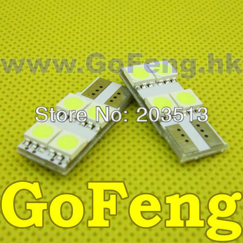 100pcs/lot Car led light auto lamp T10 4 led smd 5050 W5W 194 T10 4SMD in white+non polarity width light free shipping