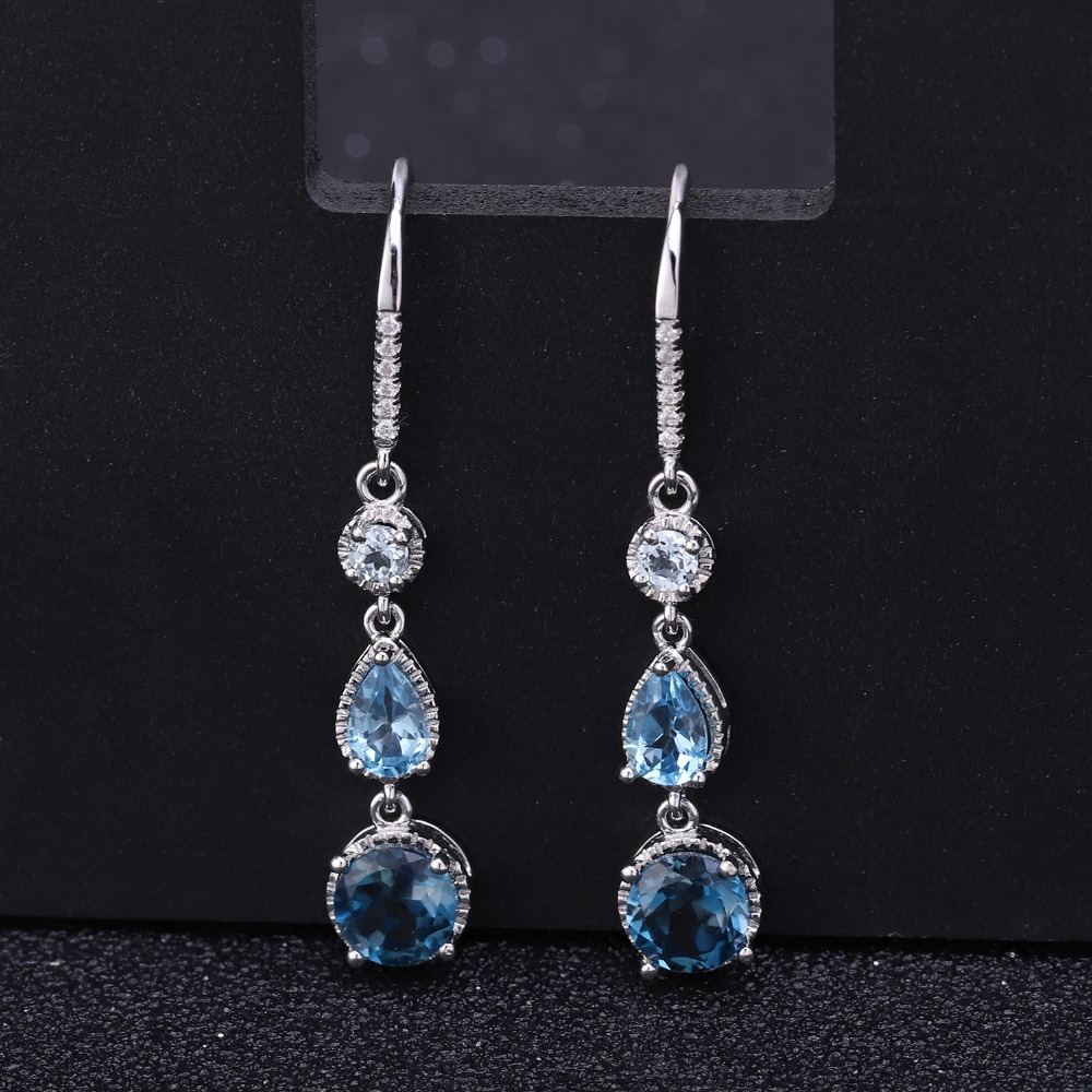 GEM'S BALLET Topaz Jewelry 925 Sterling Silver Elegant Brincos Natural London Blue Topaz Dangle Earrings for Women Wedding